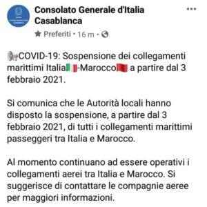 وقف الرحلات بين إيطاليا و المغرب